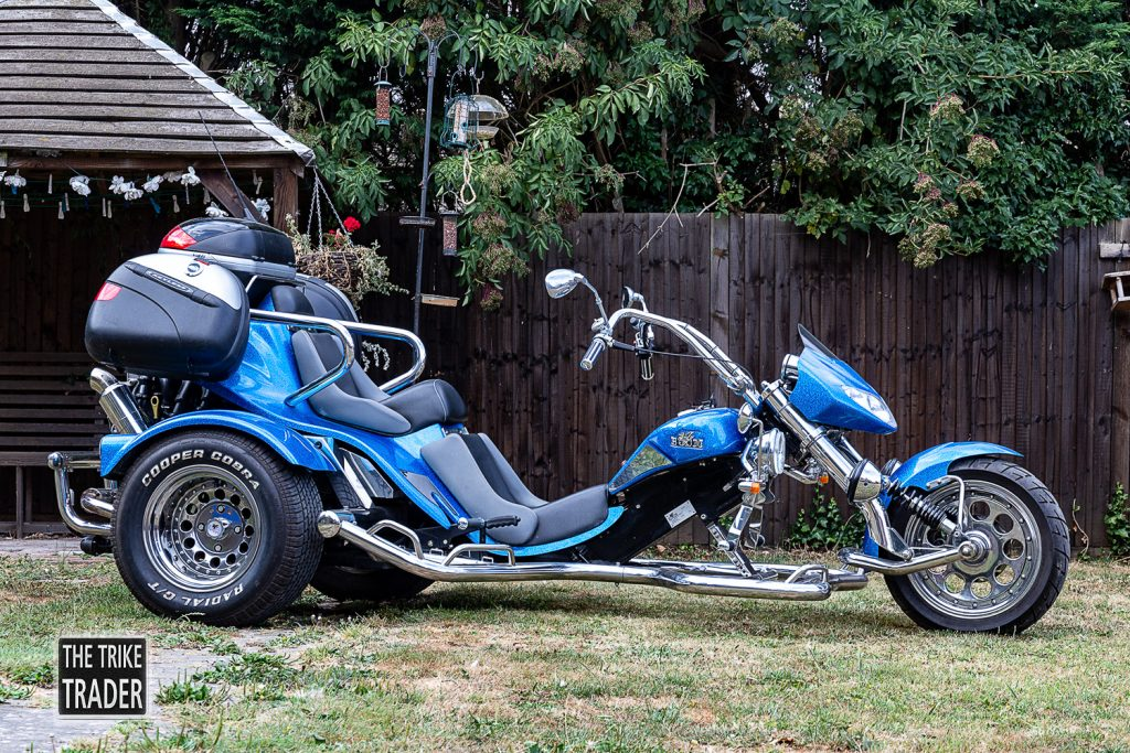 Boom Trike Low Rider Muscle 1.6L Ford Zetec 2006 in blue offside view showing the sleek low rider lines of this stunning trike