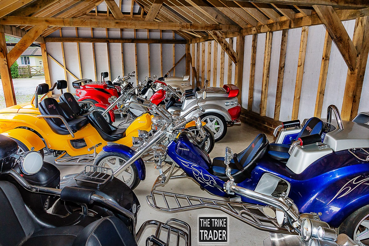 The Trike Trader showroom with Rewaco RF1-GT -GTR Turbo and RF1 -LT trikes for sale